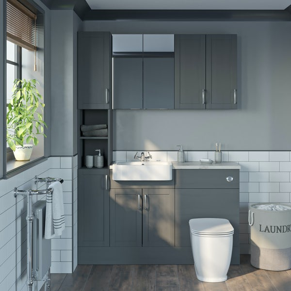 The Bath Co. Newbury dusk grey tall fitted furniture & storage combination with beige worktop