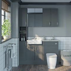 Main image for The Bath Co. Newbury dusk grey tall fitted furniture & storage combination with pebble grey worktop