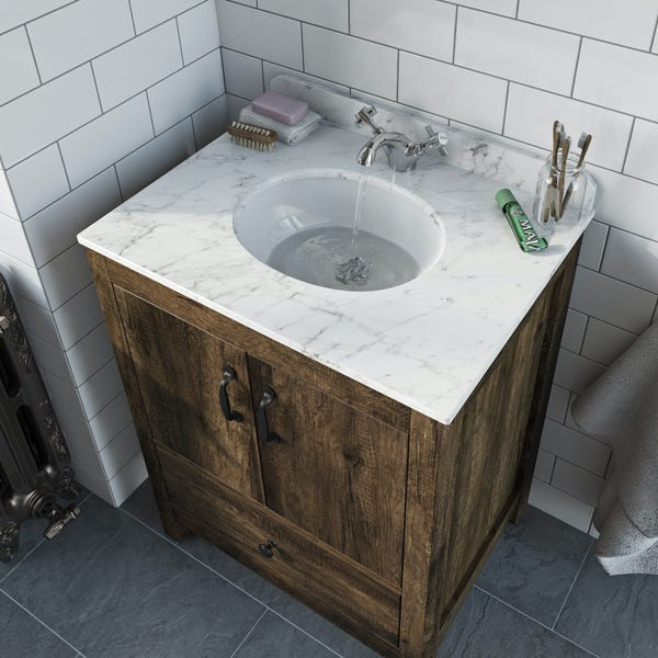 The Bath Co. Dalston vanity unit and white marble basin 650mm with mirror