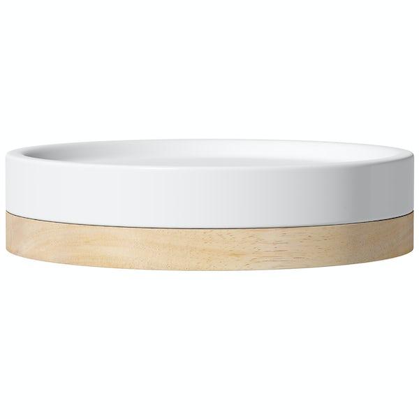 Accents white ceramic soap dish