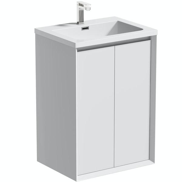 Mode Larsen white gloss floorstanding vanity unit and basin 600mm