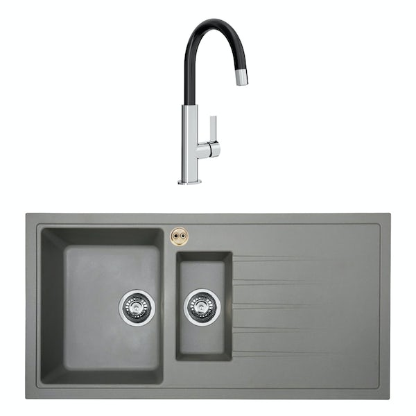 Bristan Gallery quartz right handed dawn grey easyfit 1.5 bowl kitchen sink with Melba black tap