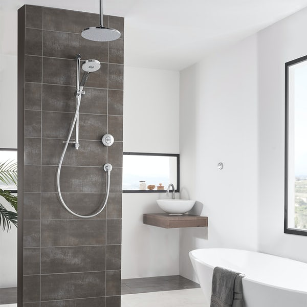 Aqualisa Unity Q Smart concealed shower pumped with adjustable handset and ceiling head gravity pumped