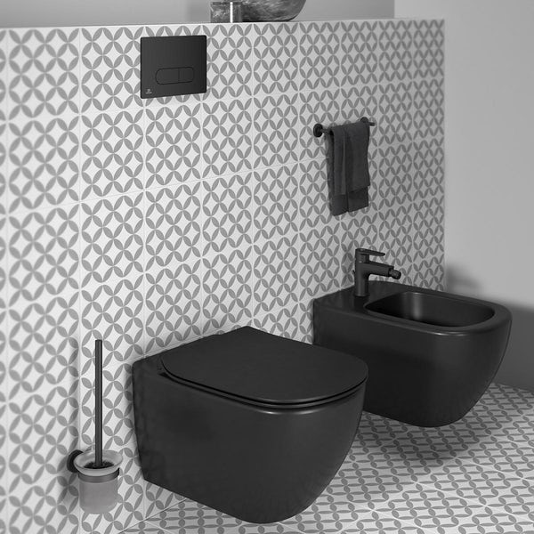 Ideal Standard IOM silk black wall mounted toilet brush and holder