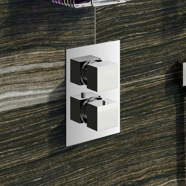 Mode Ellis square twin thermostatic shower valve