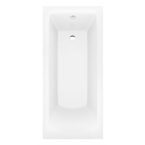 Orchard square edge single ended straight bath with panel and bath mixer tap