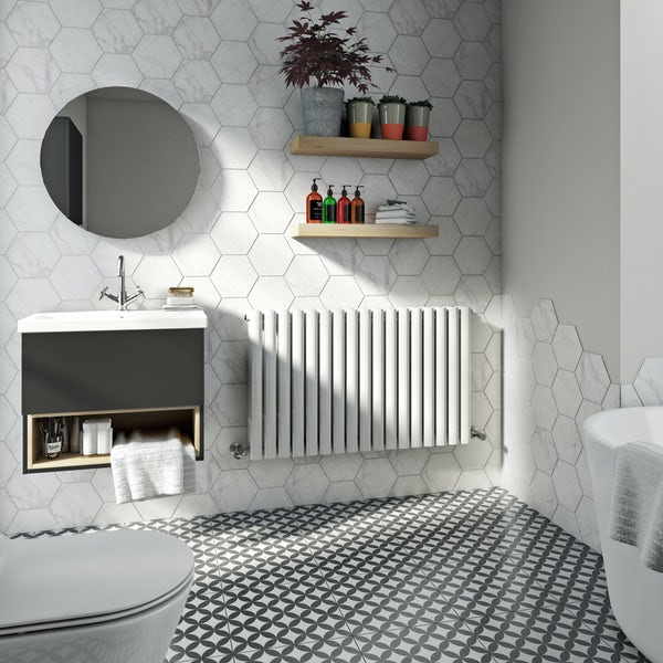 Mode Tate white double horizontal radiator 600 x 1000