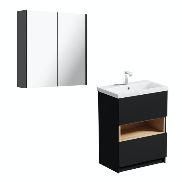 Mode Tate anthracite black & oak vanity unit 600mm with mirror