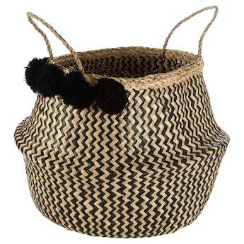 Accents Zig Zag Pom Pom storage basket
