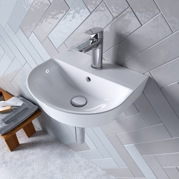 Ideal Standard Concept Air Arc 1  tap hole wall hung bathroom basin 400mm