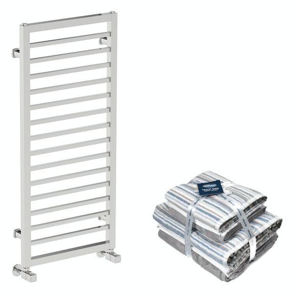 Mode Burton chrome heated towel rail 1000x450 with Silentnight Zero twist grey 4 piece towel bale