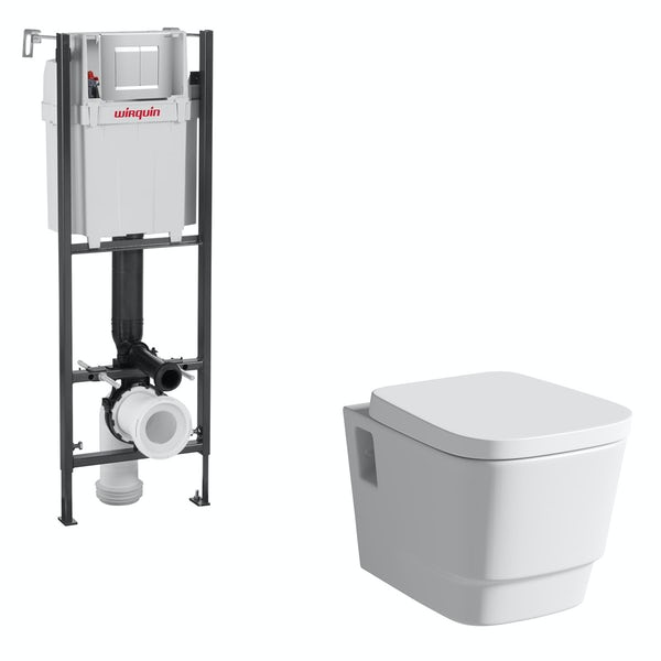 Mode Foster wall hung toilet and wall mounting frame with push plate cistern
