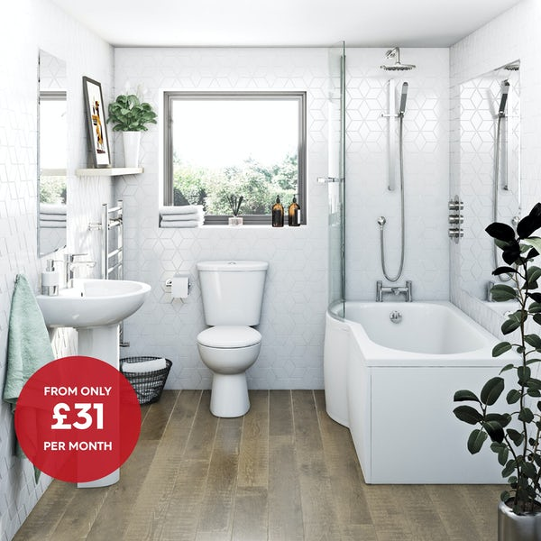 Clarity bathroom suite with left handed P shaped shower bath, shower and taps