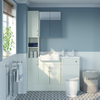 Reeves Newbury white tall fitted furniture & mirror combination with white marble worktop
