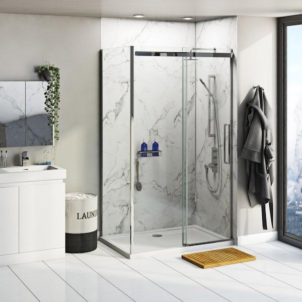 Multipanel Linda Barker Calacatta Marble shower wall panel corner installation pack 1200 x 1200