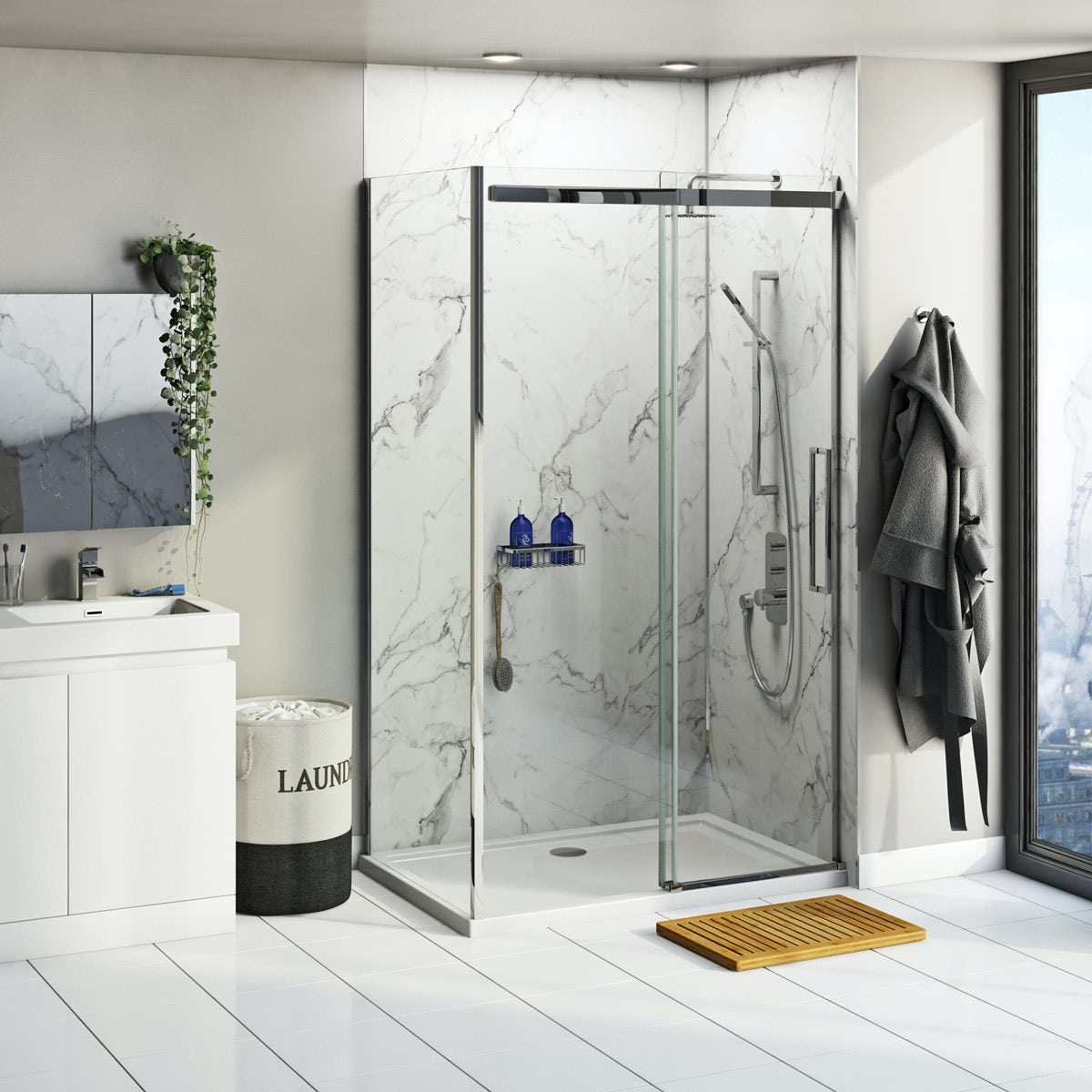 Multipanel Linda Barker Calacatta Marble Shower Wall Panel Corner Installation Pack 1200 X 1200