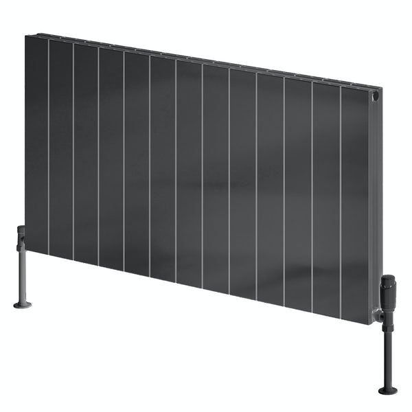 Reina Casina anthracite grey double horizontal aluminium designer radiator