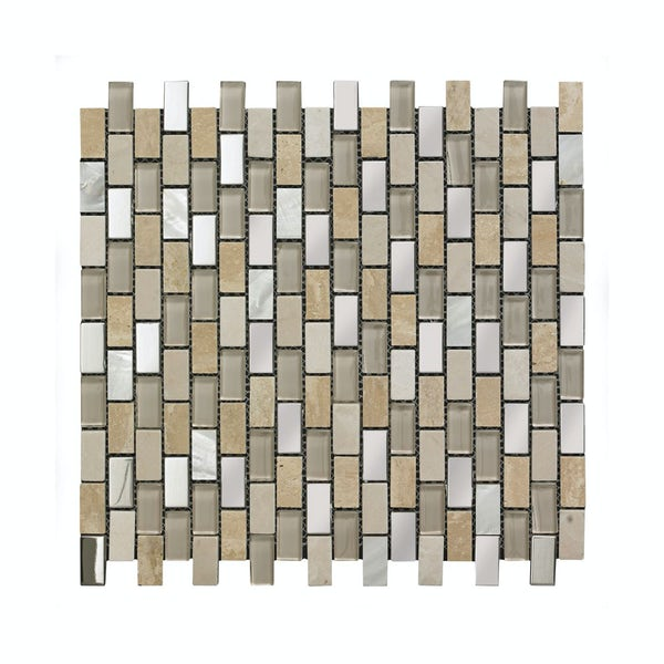 British Ceramic Tile Mosaic biscuit beige gloss tile 300mm x 300mm - 1 sheet