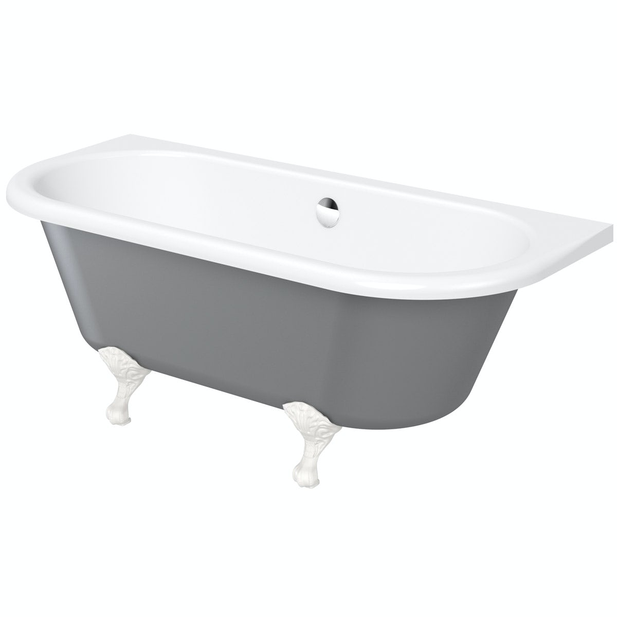 The Bath Co Dulwich Grey Back To Wall Roll Top Bath With