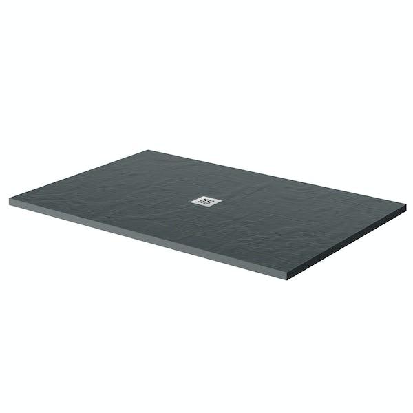 Mode grey slate effect rectangle stone shower tray