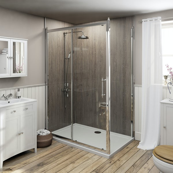 The Bath Co. 8mm traditional sliding shower enclosure with stone tray