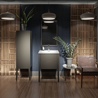 Mode Hale grey-stone matte furniture package with wall hung vanity unit 600mm