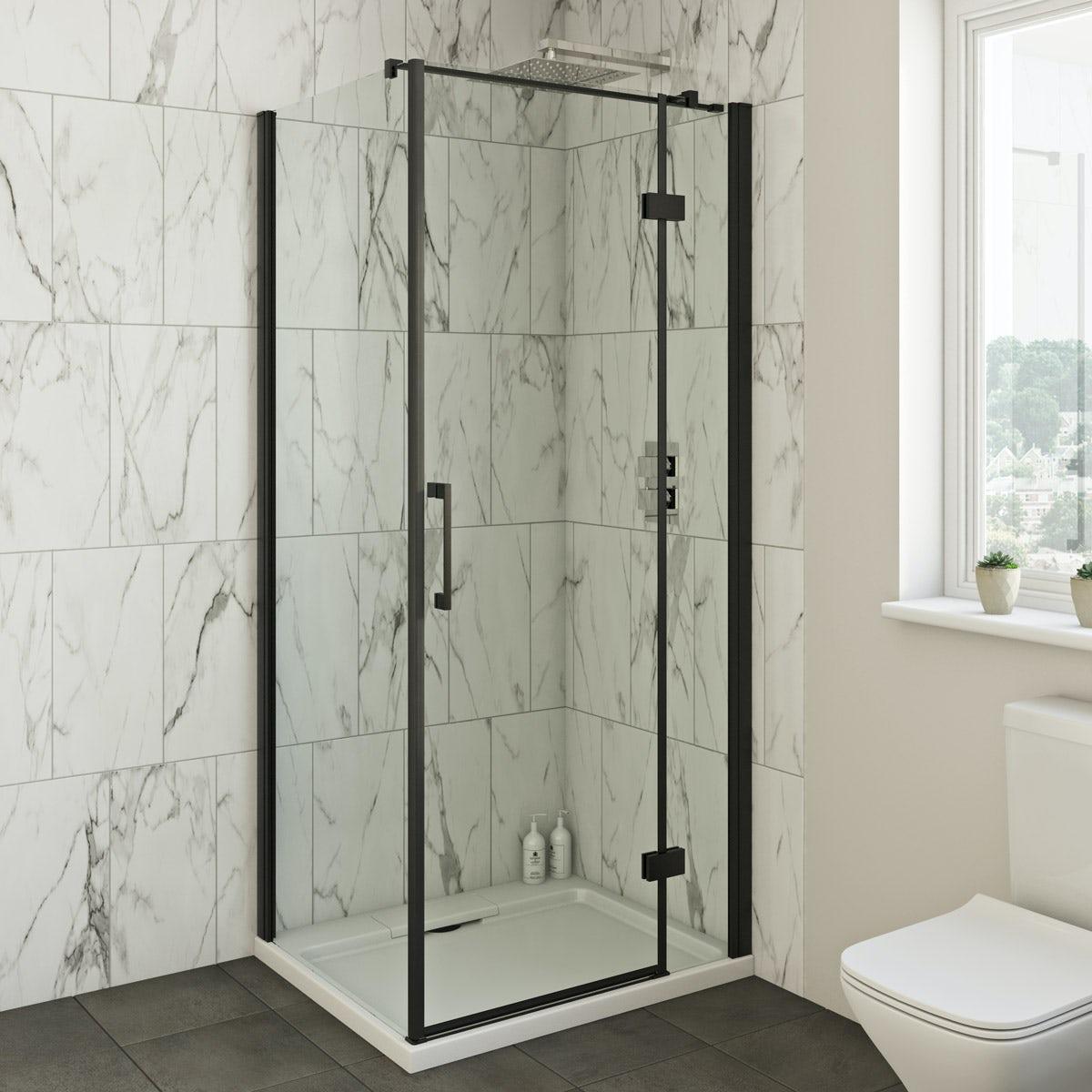 Mode Cooper black hinged shower enclosure