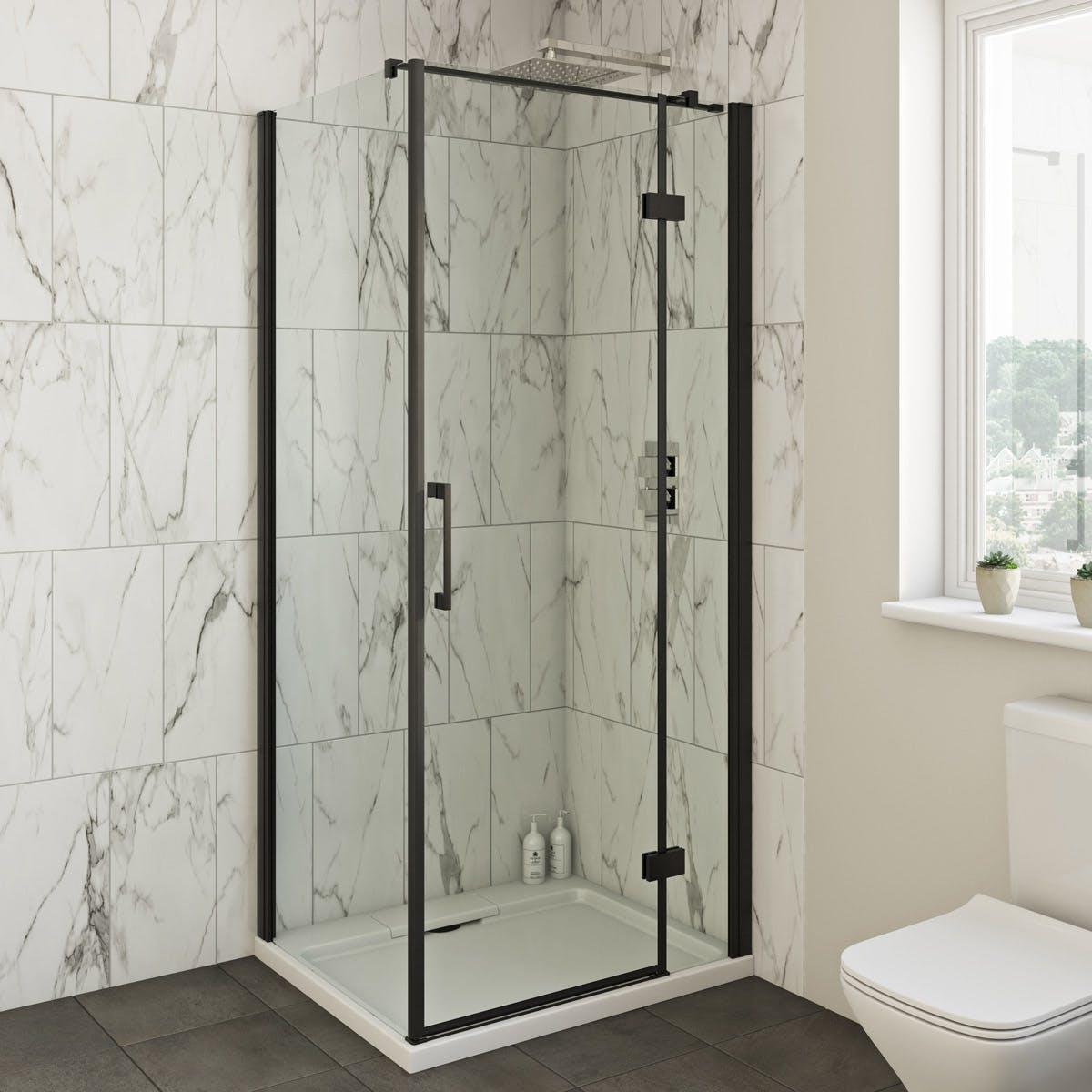 Mode Cooper 8mm Black Hinged Shower Enclosure