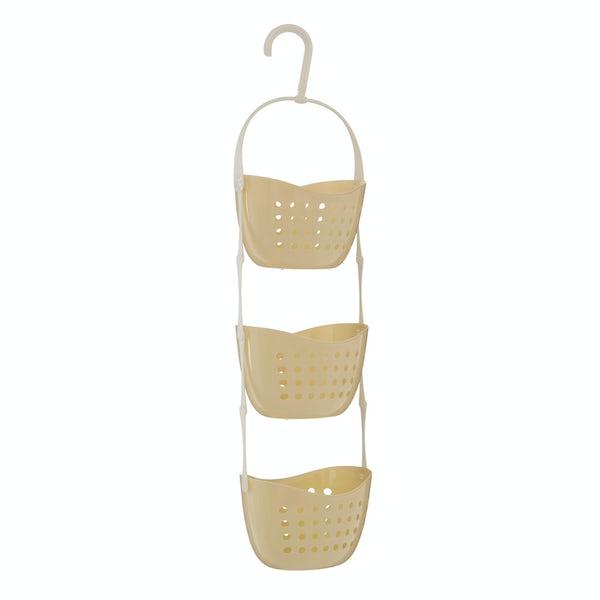 Cream 3 tier hanging shower caddy