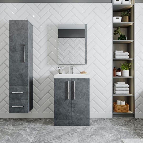 Orchard Kemp riven grey floorstanding vanity unit and basin 600mm