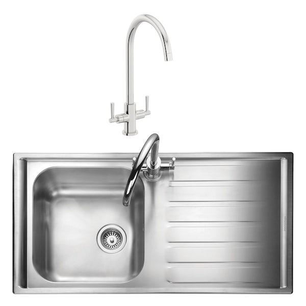 Rangemaster Manhattan 1.0 bowl right handed kitchen sink with waste kit and Schon C spout WRAS kitchen tap