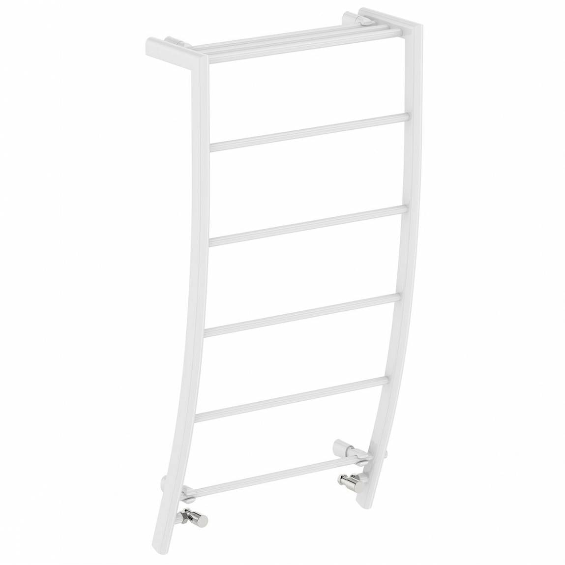 Clarity White curved heated towel rail 1200 x 600