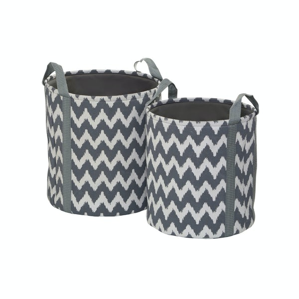 Accents Set of 2 chevron canvas storage baskets
