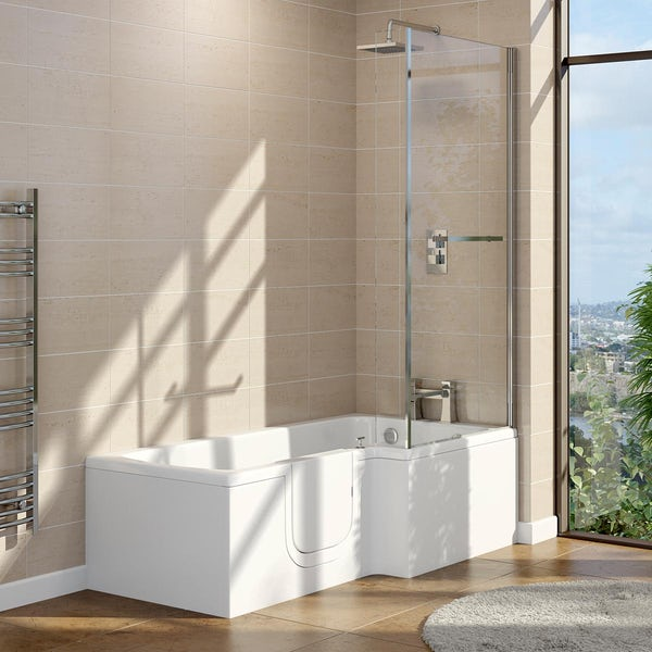 Orchard walk in L shaped shower bath with easy access left handed door and screen 1700 x 700