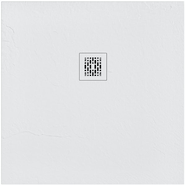 Mode slate effect white square shower tray 900 x 900 with colour matched waste cover