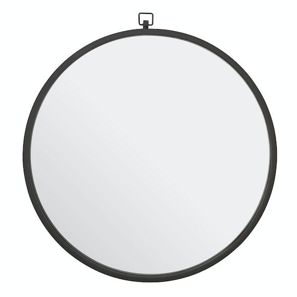 Jacen round wall mirror with black frame