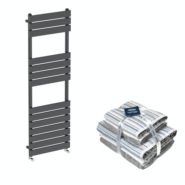 Orchard Wharfe anthracite grey heated towel rail 1500x501 with Silentnight Zero twist grey 4 piece towel baleOrchard Wharfe anthracite grey heated towel rail 1500x500 with Silentnight Zero twist grey 4 piece towel bale