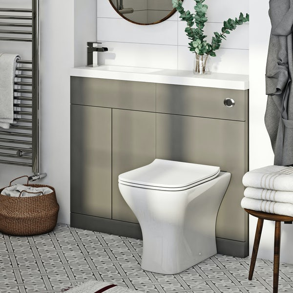 Orchard MySpace Slim stone grey combination with Derwent square toilet and soft close seat