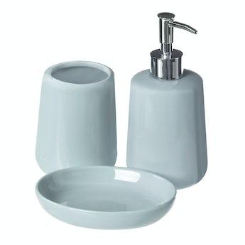 Moon soft blue 3pc bathroom accessory set