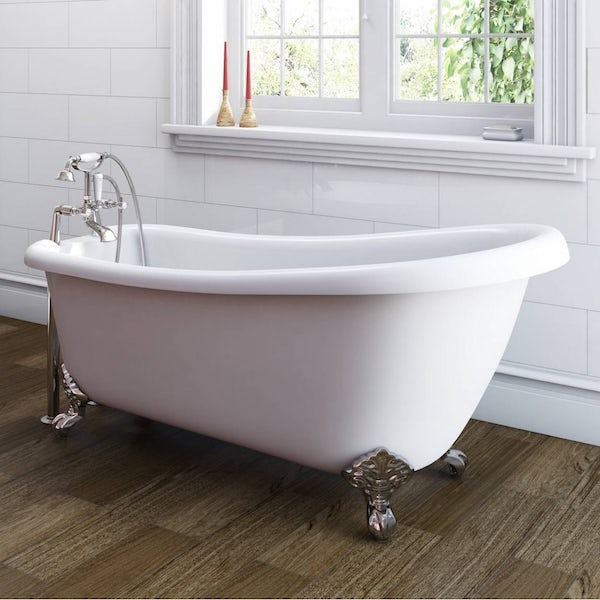 The Bath Co. Winchester single ended roll top bath with chrome ball and claw feet