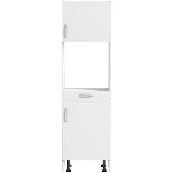 Schon Boston white slab 600mm single oven housing unit