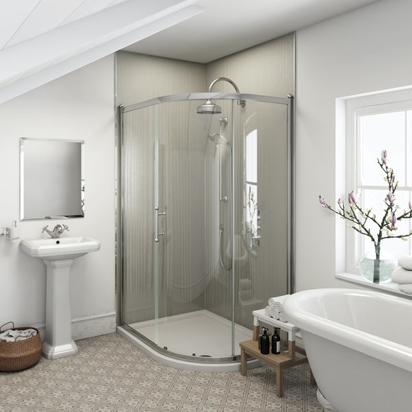 Multipanel Heritage Winchester Linewood shower wall panel corner installation pack 1200 x 1200