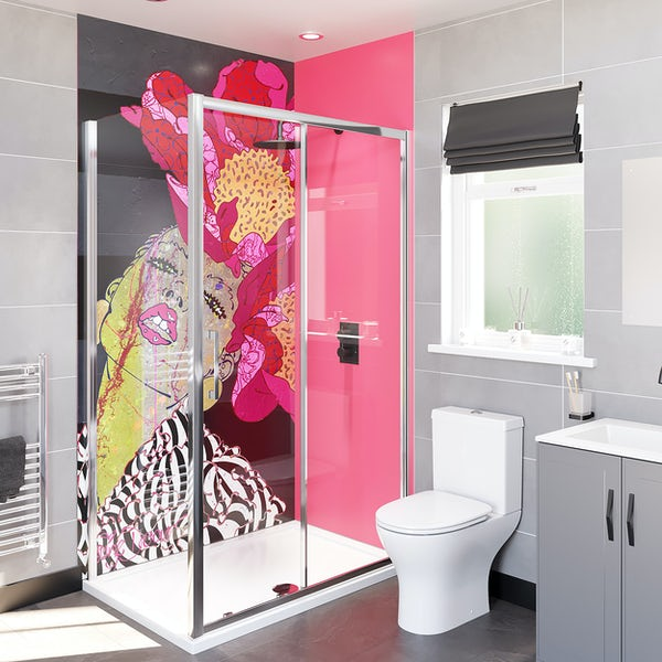 Louise Dear There Are No Rules acrylic shower wall panel with 1200 x 800mm rectangular enclosure