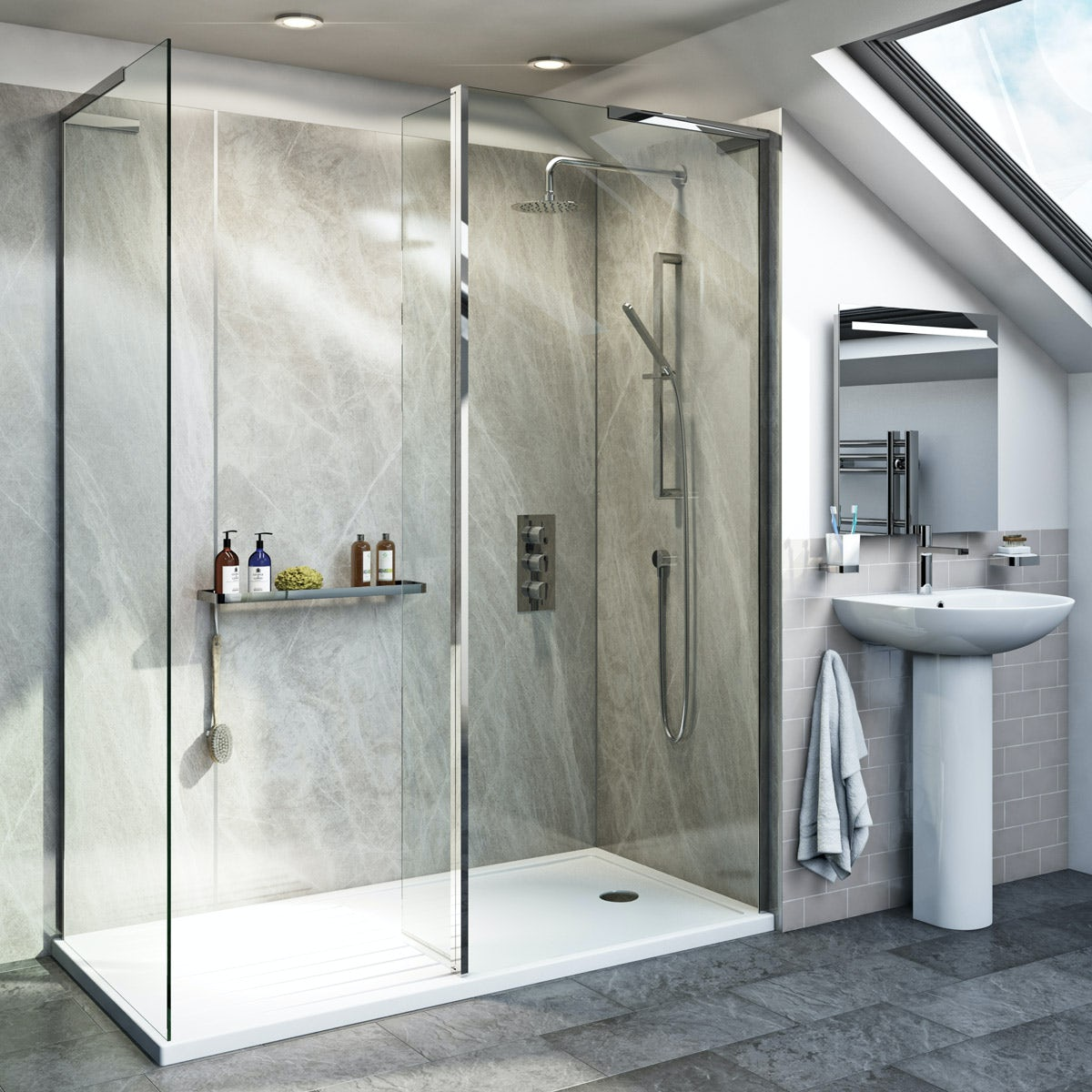 mode 8mm walk in shower enclosure pack with return panel
