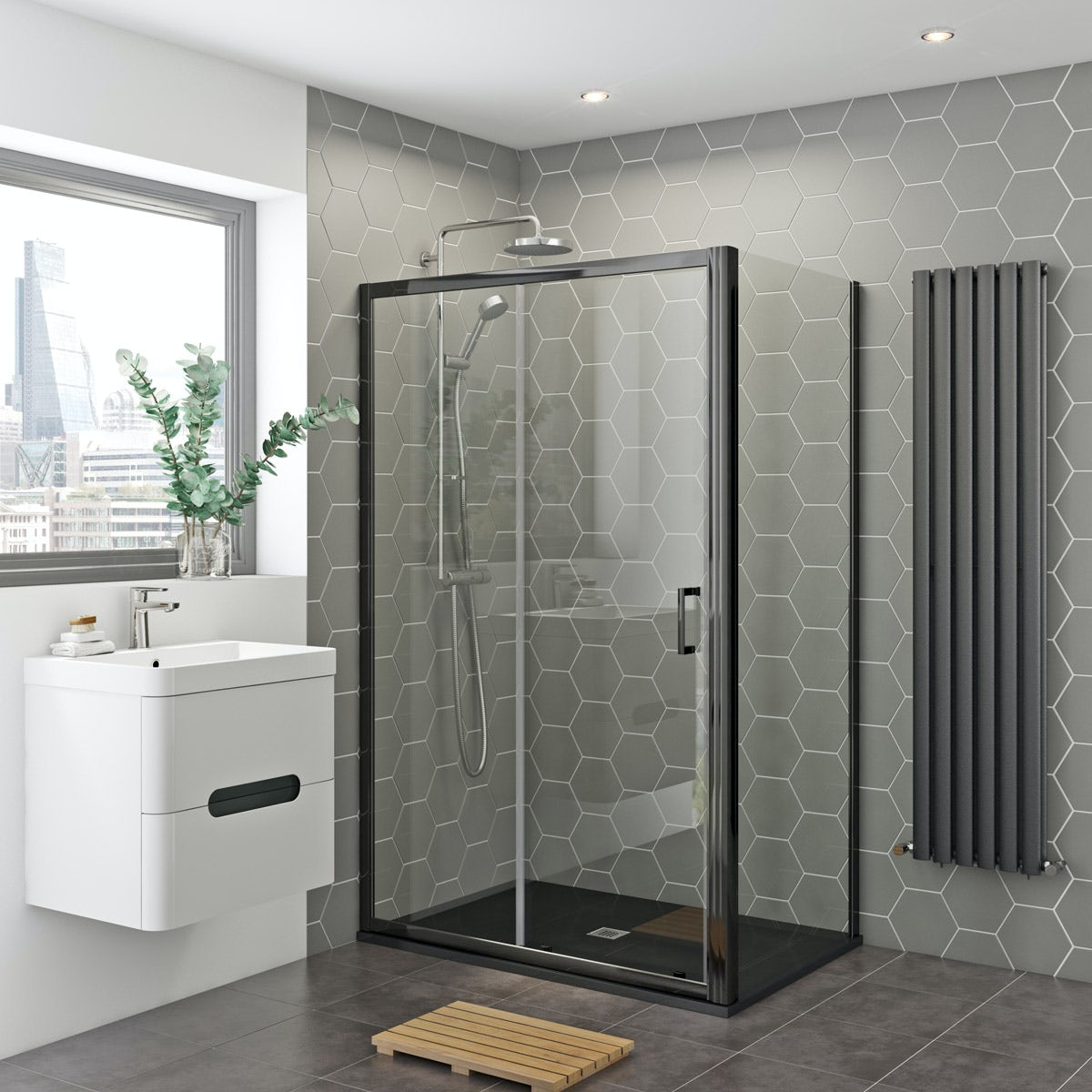 Mira And Mode Black Shower Enclosure And Slate Effect Tray