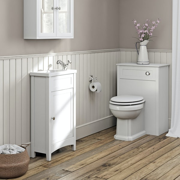 The Bath Co. Camberley white cloakroom furniture suite