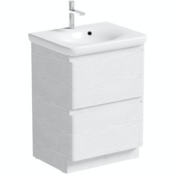 Mode Heath white LED floorstanding vanity unit and basin 600mm