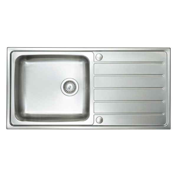 Schon Erne universal 1.0 bowl stainless steel kitchen sink with waste 1000 x 500