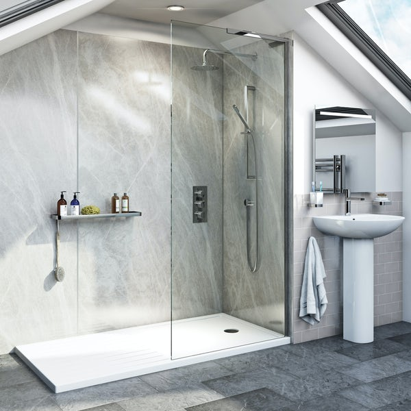 Mode 8mm walk in glass panel pack with walk in shower tray