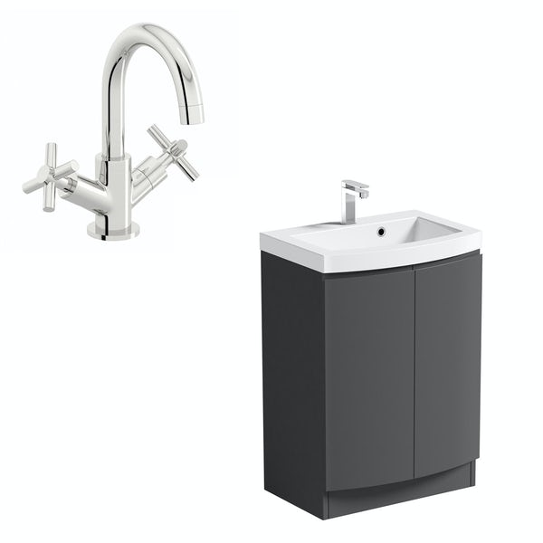 Mode Harrison slate gloss grey floorstanding vanity door unit and basin 600mm with tap